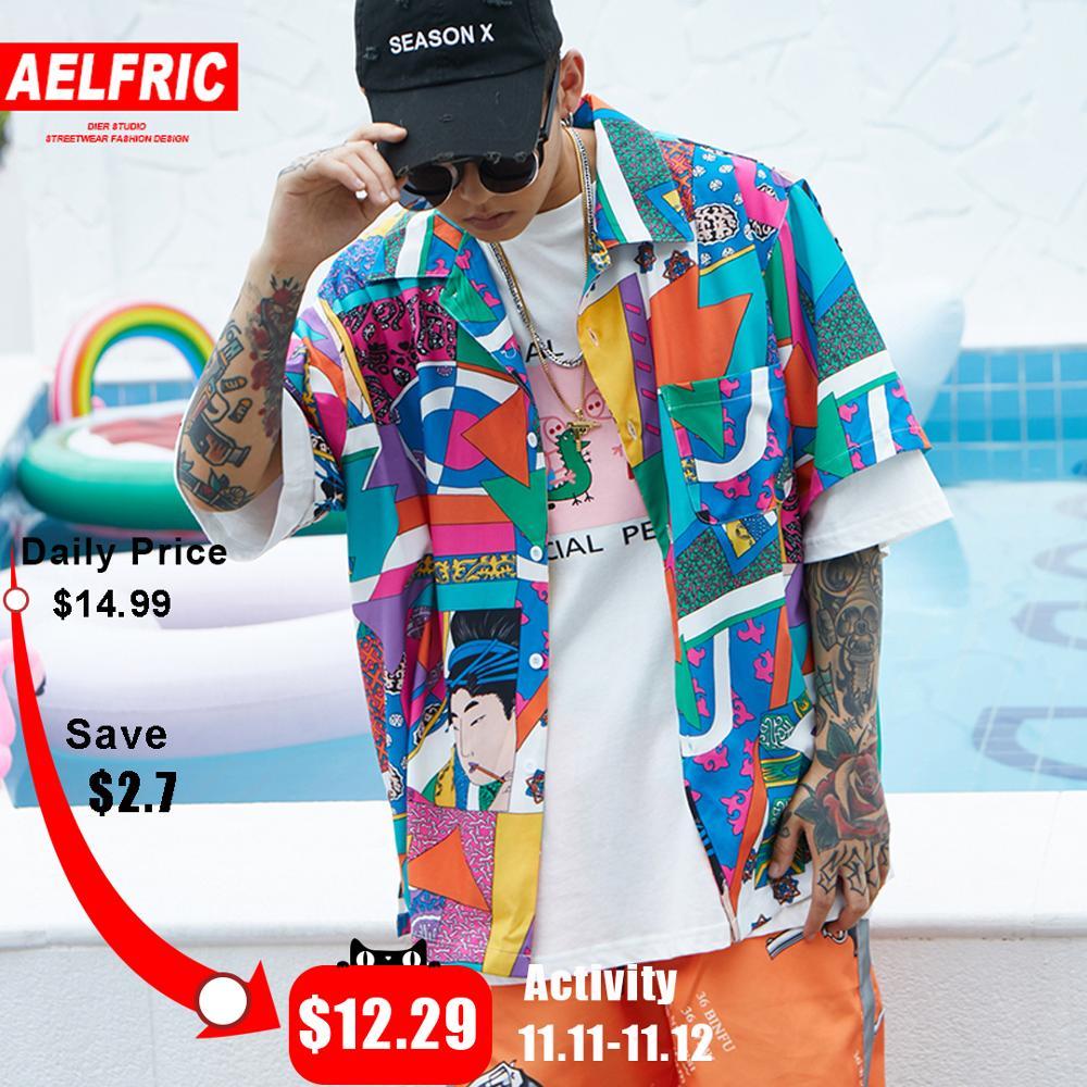 AELFRIC Short Sleeve Shirt Men Hip Hop Japanese Streetwear Ukiyoe Casual Shirt 2018 Man Summer Fashion Soft Hawaiian Shirts HE01