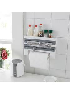 Storage-Rack Paper-Dispenser Tissue Roll-Holder Cling Kitchen-Film Towl Wall-Mounted