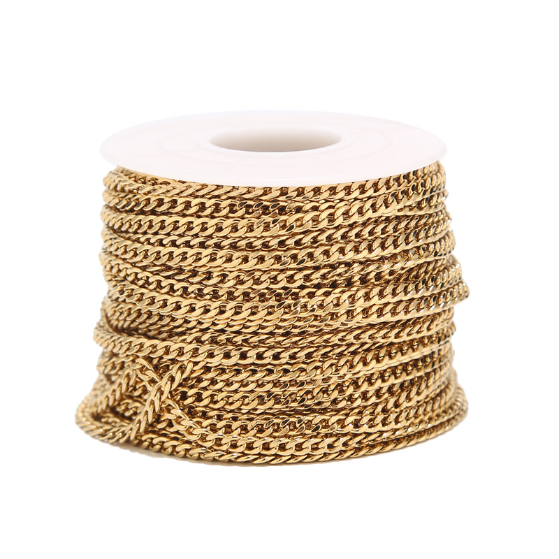 2 Meters Gold Tone 3mm Width Curb Link Chain Stainless Steel NK 1:1 Chain For DIY Handmade Necklace Bracelet Making