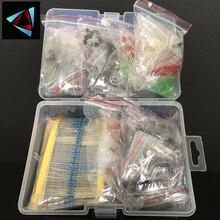 Набор металлических пленочных резисторов, набор светодиодных диодов, электролитический конденсатор, керамический набор транзисторов, наб...