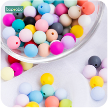 Bopoobo 12mm 500pc Food Grade Bpa Free Silicone Beads For Baby Chewable Teething Products Diy Nursing Pendant Beads Baby Teether let s make baby teether unfinished silicone hex beads set chewable food grade wooden beads diy teething necklace made beads