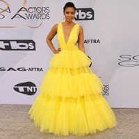 Bright Yellow Tulle Long Evening Gown Dress Deep V Neck Ball Gown Puffy Prom Formal Dresses Tiers Mesh Party Wear Robe de soiree