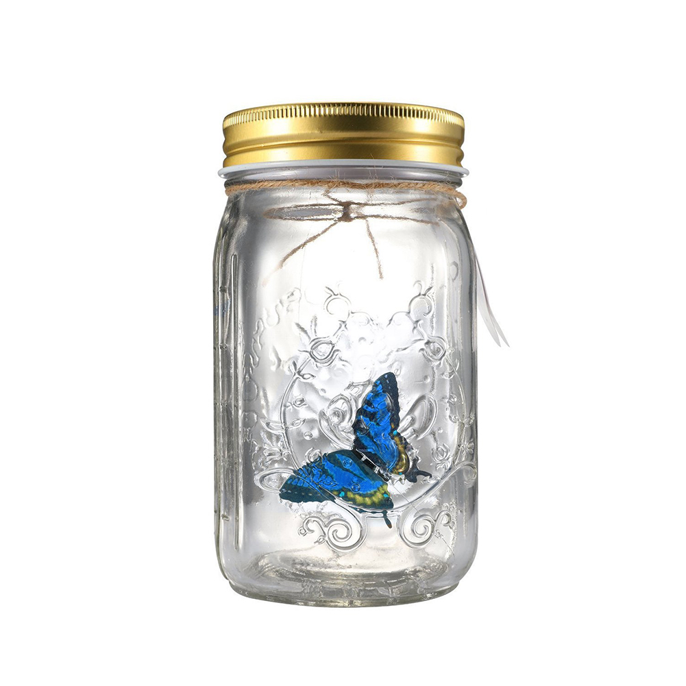Home Decoration Birthday Gift Children Electronic Beautiful Glass Butterfly Jar With LED Lamp Valentine Novelty Light Romantic