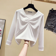 Autumn Leisure Long Sleeve T-shirt Women Pull Jacket Ins New V-collar White Pure Cotton T Shirt Femme All-match Tops