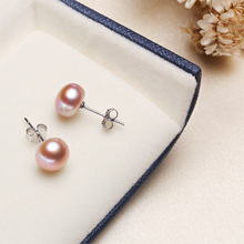 Silver Natural Pearl Earrings Classic Fashion Jewelry For Women 6-8mm 3 Color Ohrringe Boucle Doreille Femme 2019