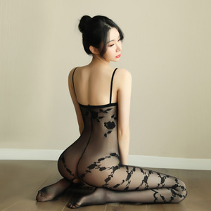 Full Body Fishnet Crotchless Sheer Bodystocking Full Body Pantyhose Transparent Long-sleeve Open Crotch Tights Stocking Sex Shop