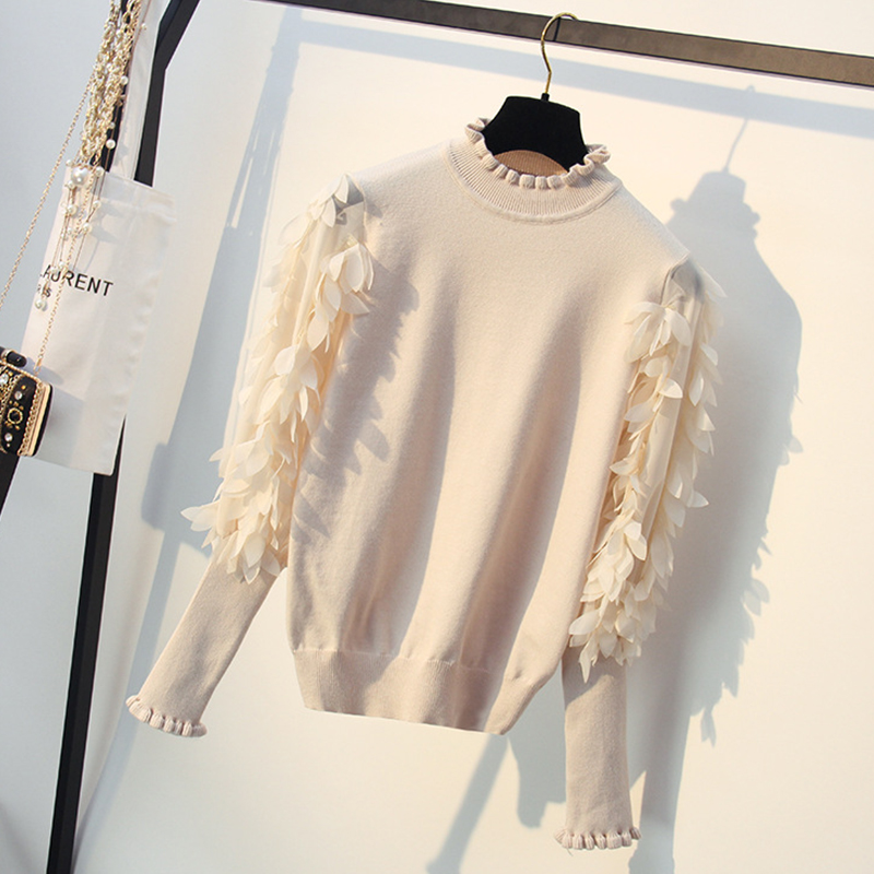 Knitted Thick White Sweater For Women Jumper Woman Fashion Jersey 2019 Female Winter Ladies Ruffle Pullover Frauen Pull Femme