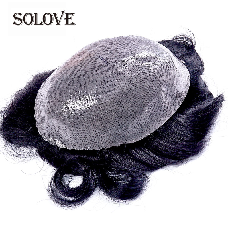 PU Transparent Toupee Men Wig  Replacement Systems Thin Skin 0.10-0.14mm Indian Natural Remy Hair 6inch
