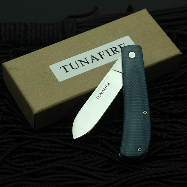 New  TUNAFIRE Outdoor Knife 440C multifunctional tool linen fiber handle portable outdoor camping Fishing Folding Pocket knive 6