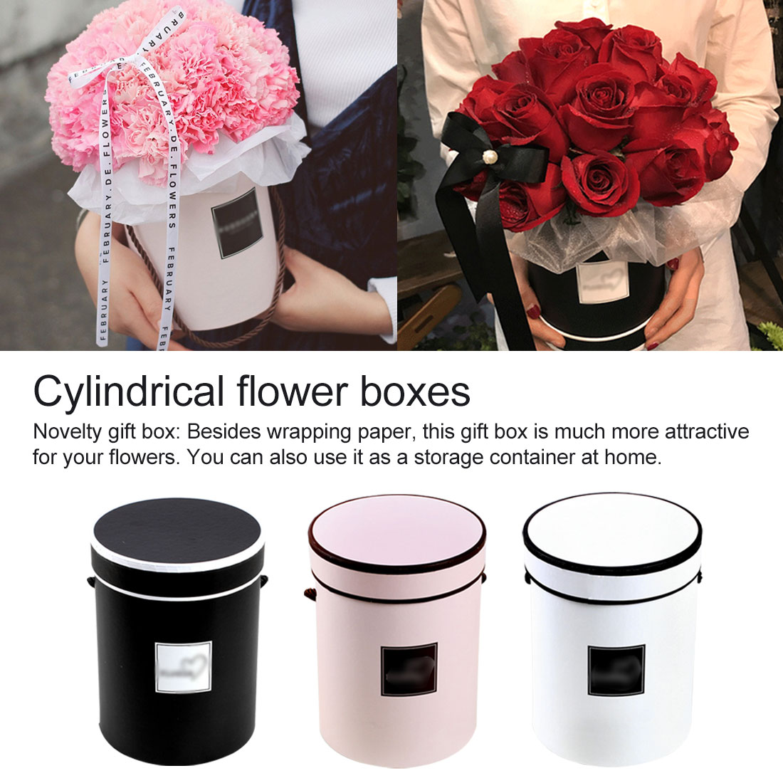 Round Flower Paper Boxes With Lid Hug Bucket Florist Gift Packaging Box 14*18 Cm Home Decorations Flower Bouquet Holder