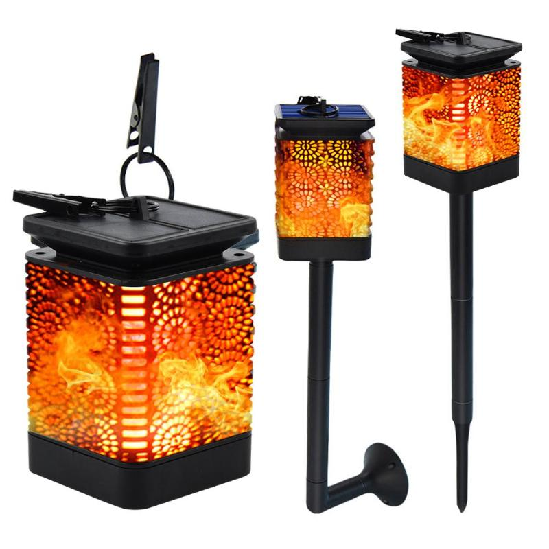 Retro Solar LED Flame Light Flower Pattern Waterproof For Outdoor Clip Lamp