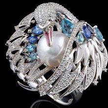 Новинка модное кольцо в форме белого лебедя животного женское