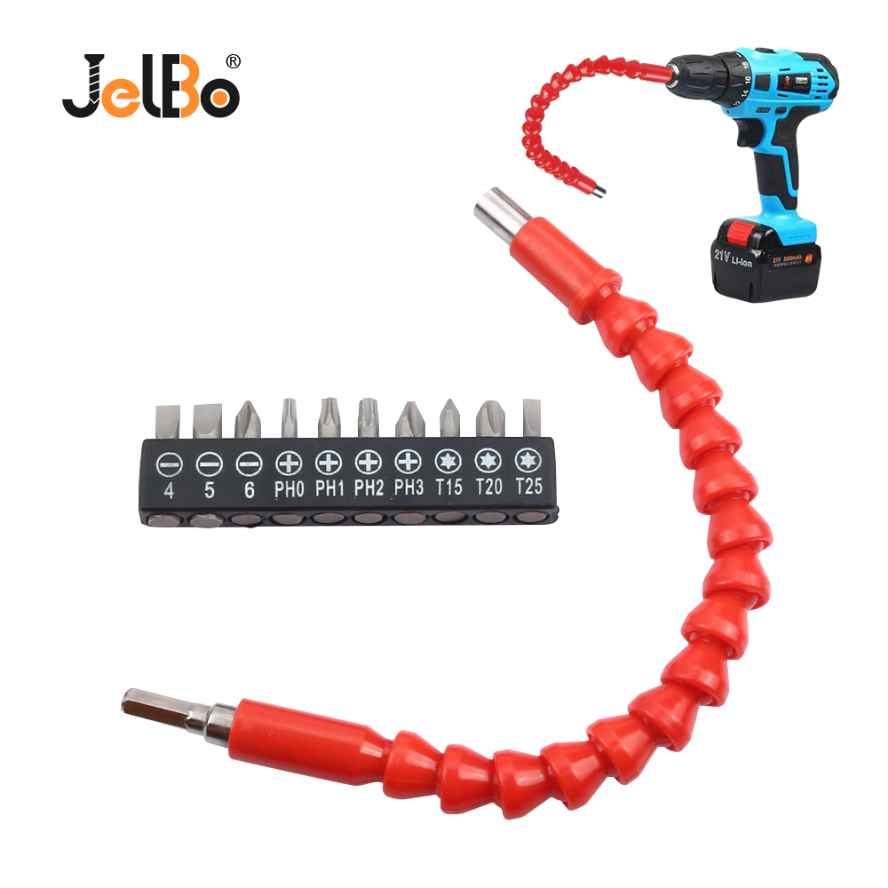 JelBo Car Repair Tools Black 295mm Flexible Shaft Bits Extention Screwdriver Bit Holder Connect Link Electronics Drill