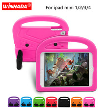 For ipad mini 4 Case Kids cute Tablet Protecter cover shock proof EVA foam Hand-held Stand Cover for Apple ipad mini 2 /mini 3 portable kids steering wheel for apple ipad mini 1 2 3 eva drop resistance washable stand holder hand held protective case gifts