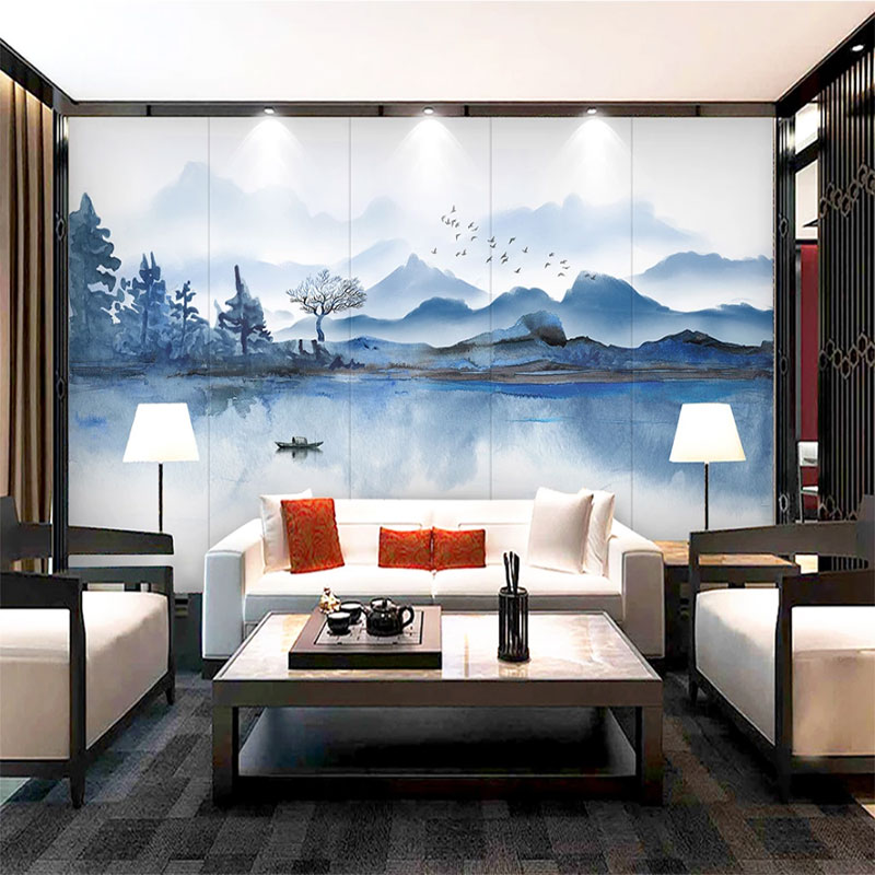 Seamless Wallpaper New Chinese Ink Landscape Background Wall