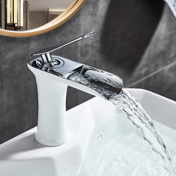 Chrome White Basin Faucet Deck Mounted Waterfall Bathroom Vessel Sink Mixer Tap Single Handle Hot Cold Water Tap 1