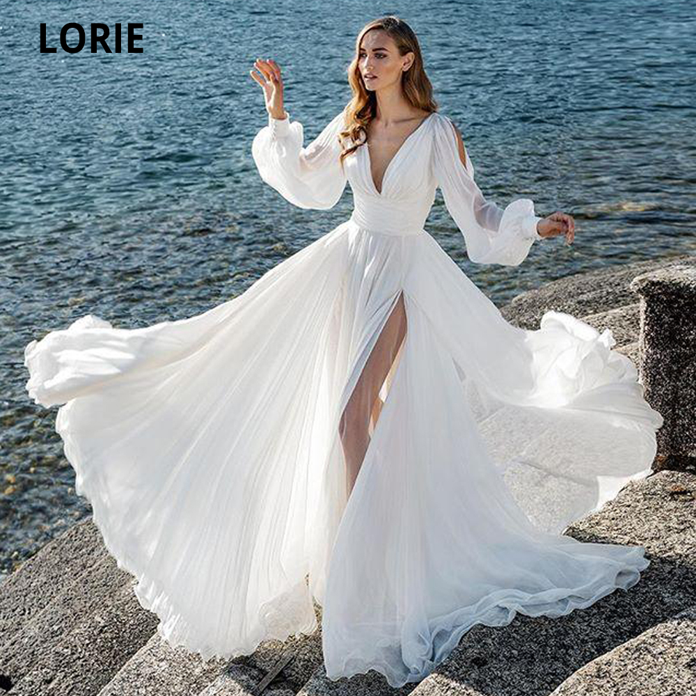 LORIE Beach Chiffon Wedding Dresses White 2020 Long Puffy Sleeve V-neck High Slit Bridal Gowns Open Back Wedding Party Dresses