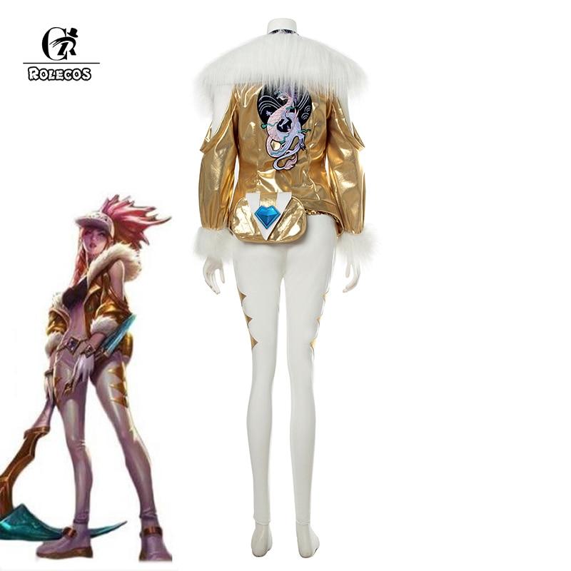 ROLECOS Game LOL KDA Akali Cosplay Costume LOL K/DA Akali Prestige Edition Cosplay Costume Winter Uniform for Women Full Set    1