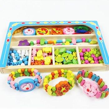 Livraison gratuite dessin animé jouet décorations en bois, perles jouets de sciage, colliers/montres, enfants bijoux faisant des utilitaires jouet