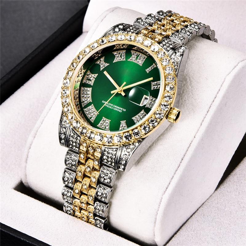 Hip Hop Diamond Watch Men Luxury Brand Mens Gold Watch Analog Quartz Movt Unique Men Iced Out Watch Man Relogio Masculino