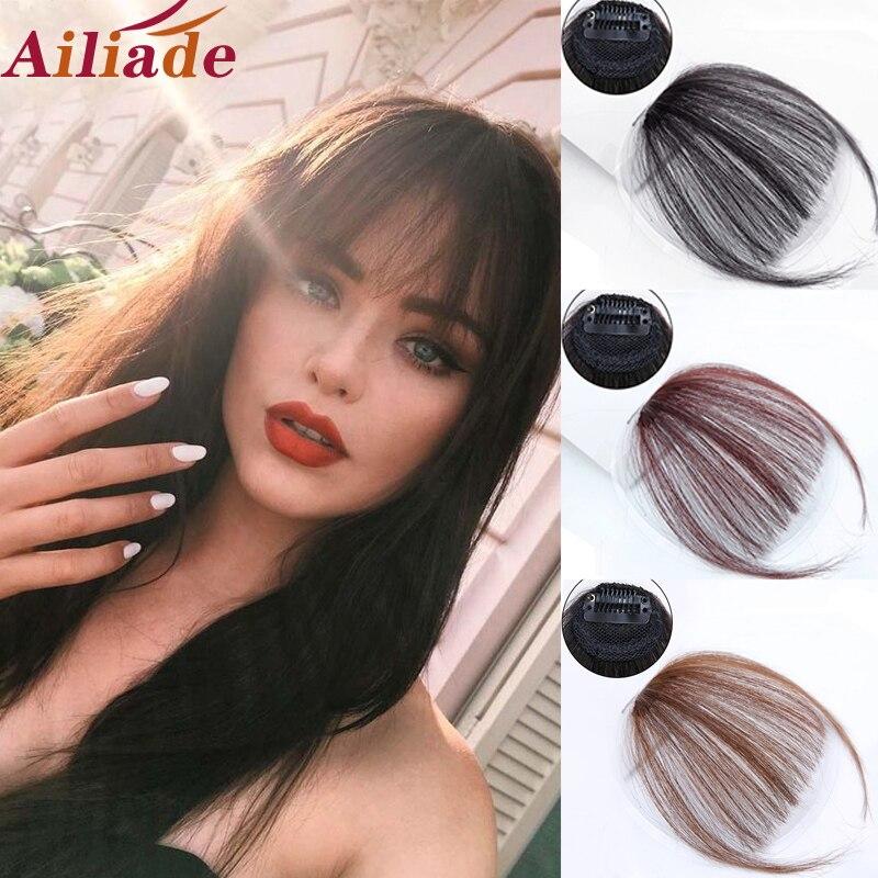 Ailiade franja franja cortes de cabelo para mulheres extensão do cabelo sintético franja reta pedaço clip on clip em frente cabelo franja perucas