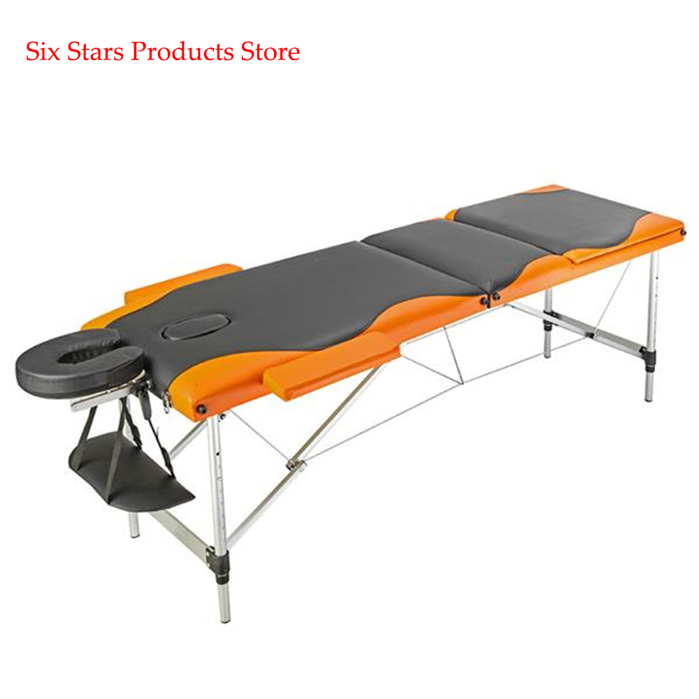 3 Sections Folding Portable Aluminum Foot Spa Tattoo Body Beauty Massage Table 60CM Wide Black & Orange Beauty Bed Adjustable