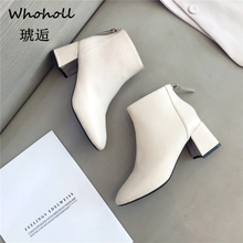 Whoholl Patent Leather Ankle Boots Women Classic Matin Fashion Flats Winter Lace Up High Top Casual Waterproof Shoes Female35-39