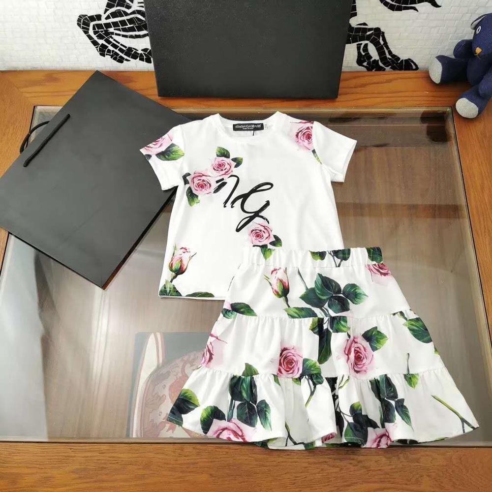 Girls' Printed Suits Older Children Summer Fashion Suit Size  4 Year -13year