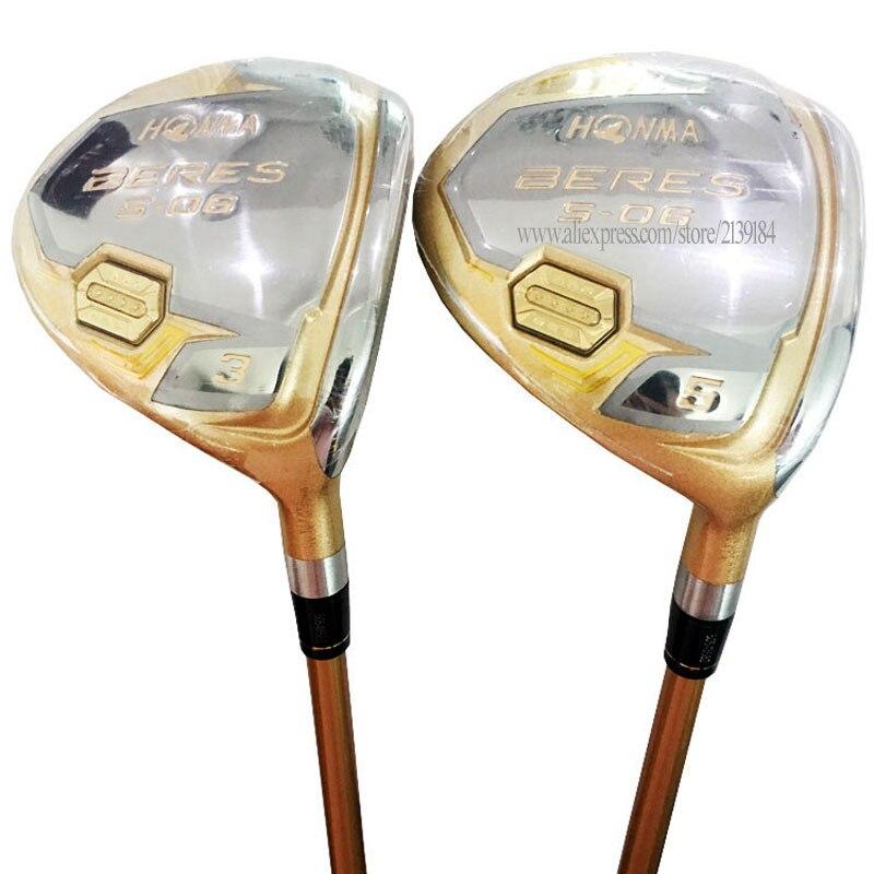 Nouveaux Clubs de Golf HONMA S-06 Fairways clubs de bois 3/5 lolft bois Clubs Graphite arbre R ou S Flex Golf arbre Cooyute livraison gratuite