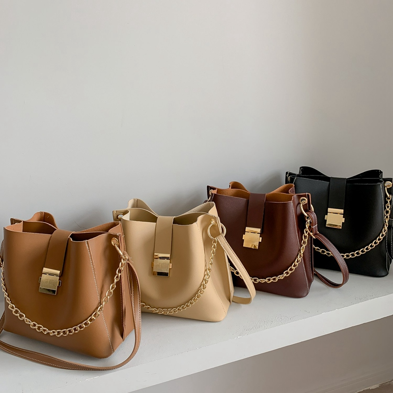 Fashion PU Leather Women's Bucket Bag Luxury Retro Chain Messenger Bag Simple Shoulder Bag Casual Tote Bag