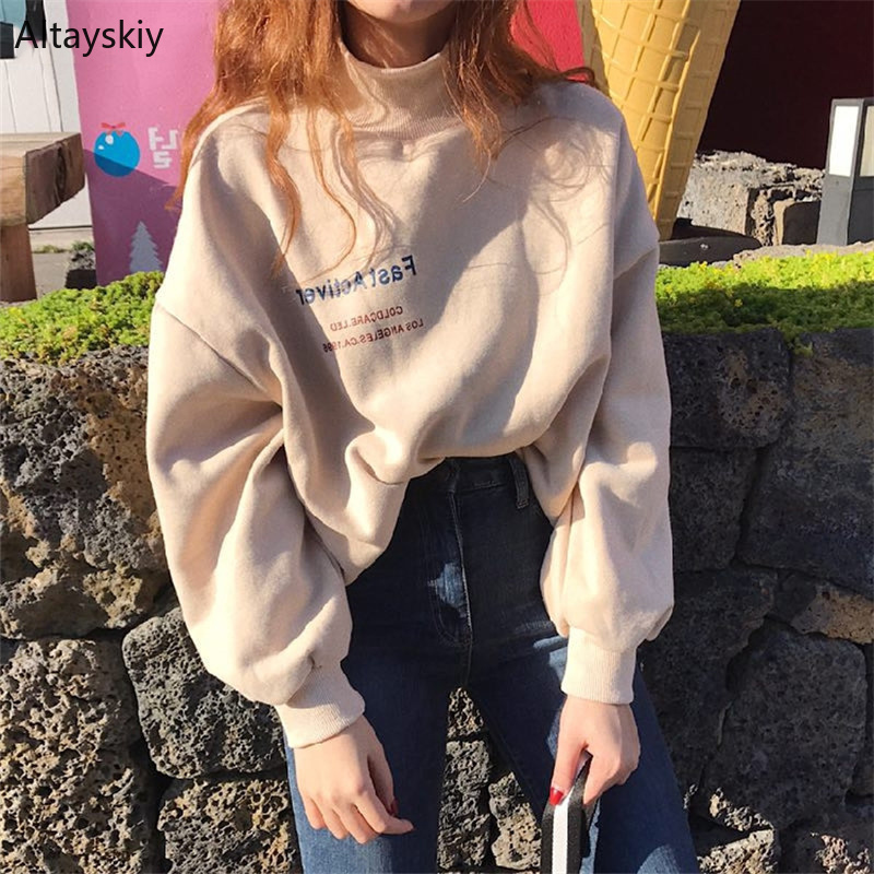 Hoodies Women Turtleneck Loose Simple All-match Korean Style Warm Soft Sweatshirts Womens High Quality Pullovers Kawaii Chic