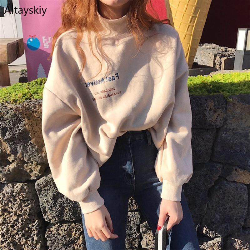 Hoodies Women Turtleneck Loose Simple All-match Korean Style Warm Soft Sweatshirts Womens High Quality Pullovers Kawaii Chic