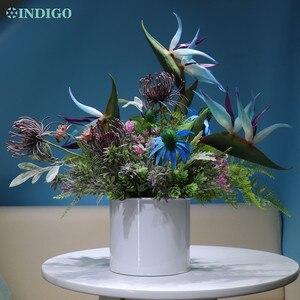 Индиго-(1 комплект) синяя райская птица, ромашка, пластиковый цветок, бонсай с вазой, стойка для приема, декоративные цветы, внутренняя отделк...