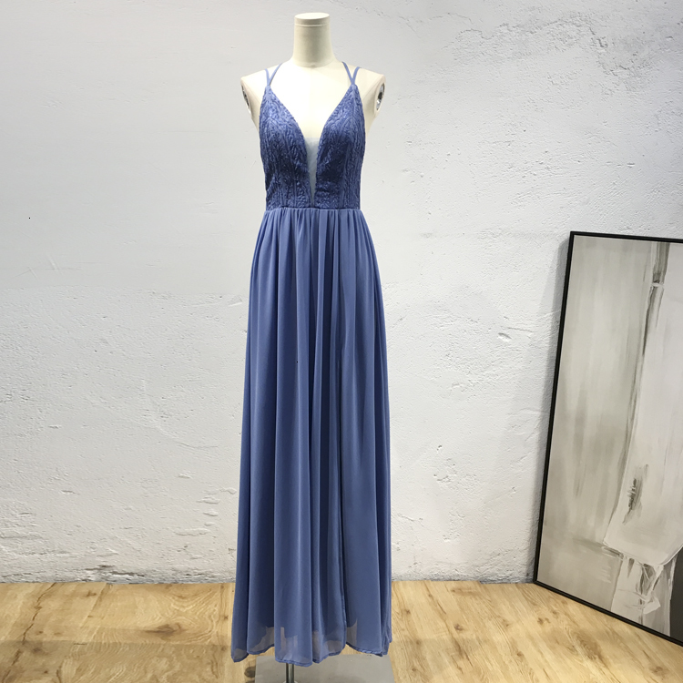 BacklakeGirls Sexy V Neck Sleeveless Cross Criss Back Sequin Evening Dress Side Split Chiffon Long Dress Elegant Vestidos Mujer