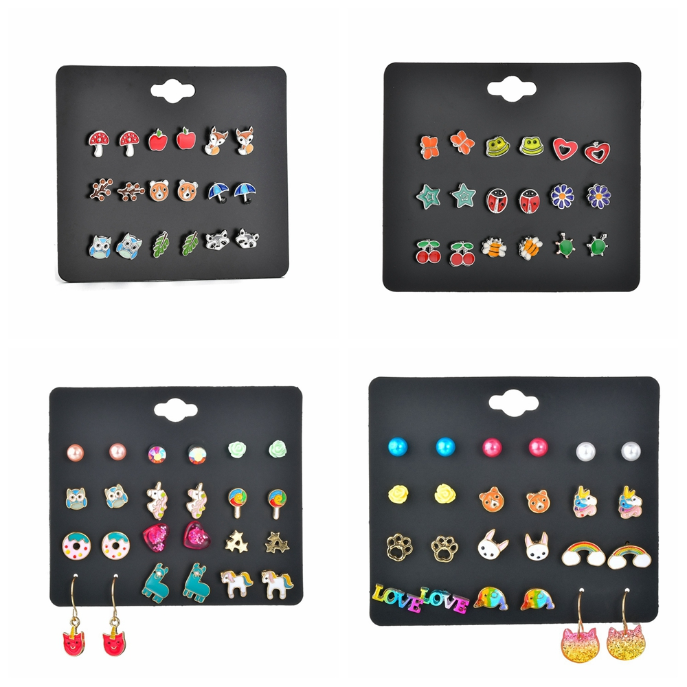 MissCyCy Korean Fashion 12 Pairs/Set Enamel Rainbow Unicorn Shape Stud Earrings For Women Girls Party Daily Kid Earring Jewelry