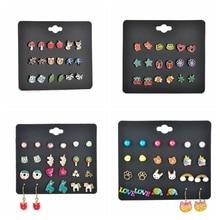 MissCyCy Korean Fashion 12 Pairs/Set Enamel Rainbow Unicorn Shape Stud Earrings For Women Girls Part