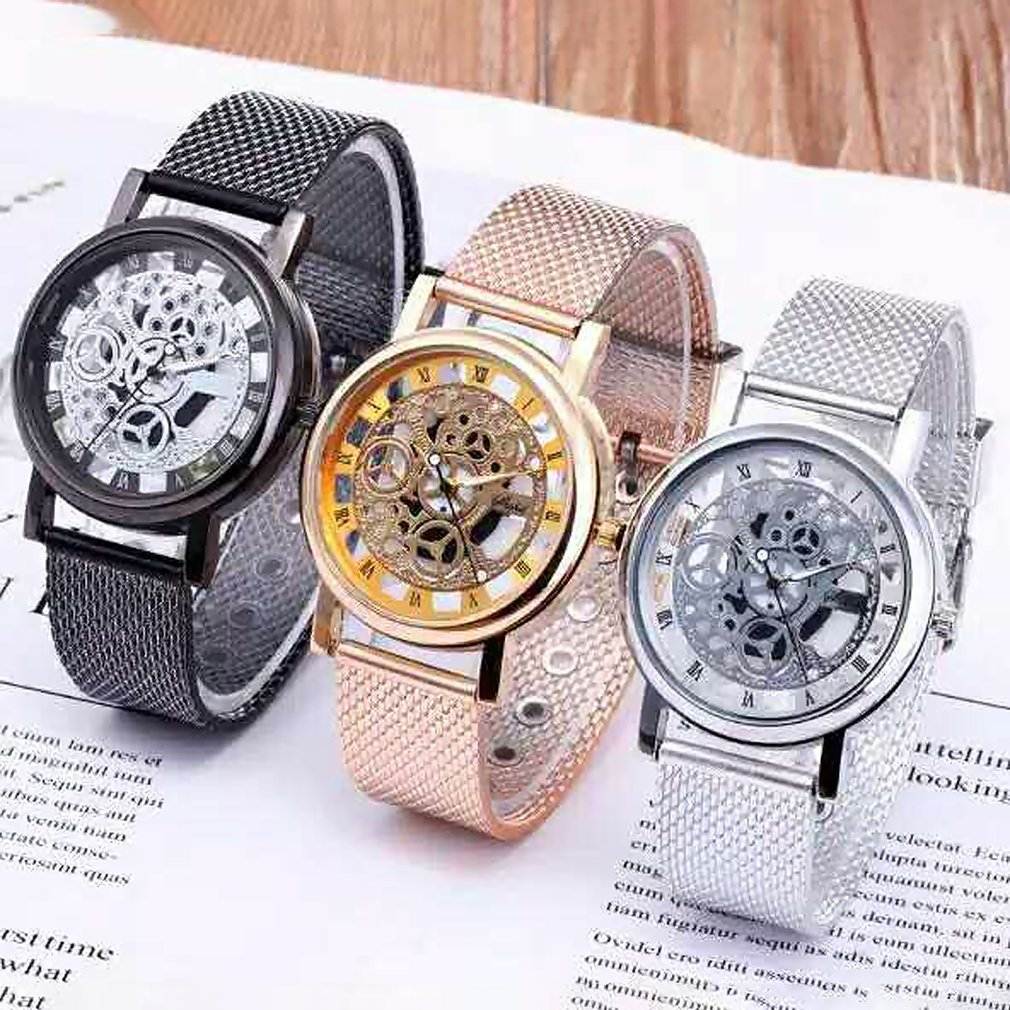 Skeleton Wrist Watch Hollow Watches Men Simple Style Mesh Belt Men Women Unisex Quartz Watches Fashion