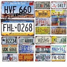 [Douladou]USA Vintage Metal Tin Signs Garage Bar Club digital car number poster License Plate plaque Decoration 30x15 CM