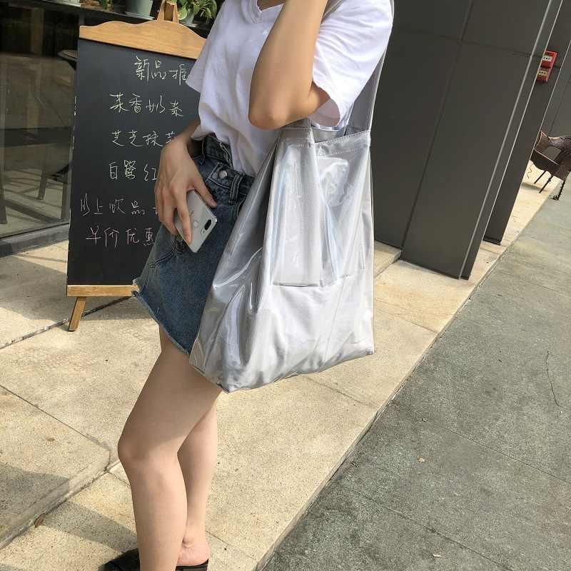 Tas Fashion 2019 New Hot Sale PVC Tas Belanja Hijau Tas Belanja Kapasitas Besar Tahan Air Tote Tas Tas Bahu