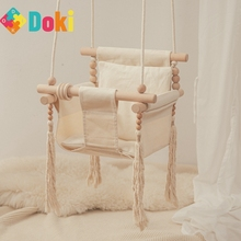 Baby Canvas And Wooden Swivel Chair Indoor And Outdoor Toys Rocking Chair With Spring Kindergarten Children Doki Toy 2021
