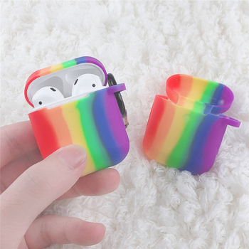 Silicone Case Rainbow Protective Cover for AirPods TPU Bluetooth Earphone Soft Silicone Cover for Air Pods 2 Case 3d lucky rat cartoon bluetooth earphone case for airpods pro cute accessories protective cover for apple air pods 3 silicone