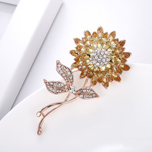 Sunflower-Brooches Brooch-Pins Jewelry Crystal Fashion Women Plant for Yellow