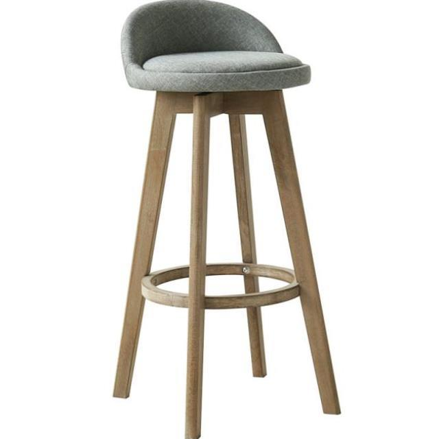 Solid Wood Bar Chair Beech  Retro Color White Rotating  Stool     High  Front Desk