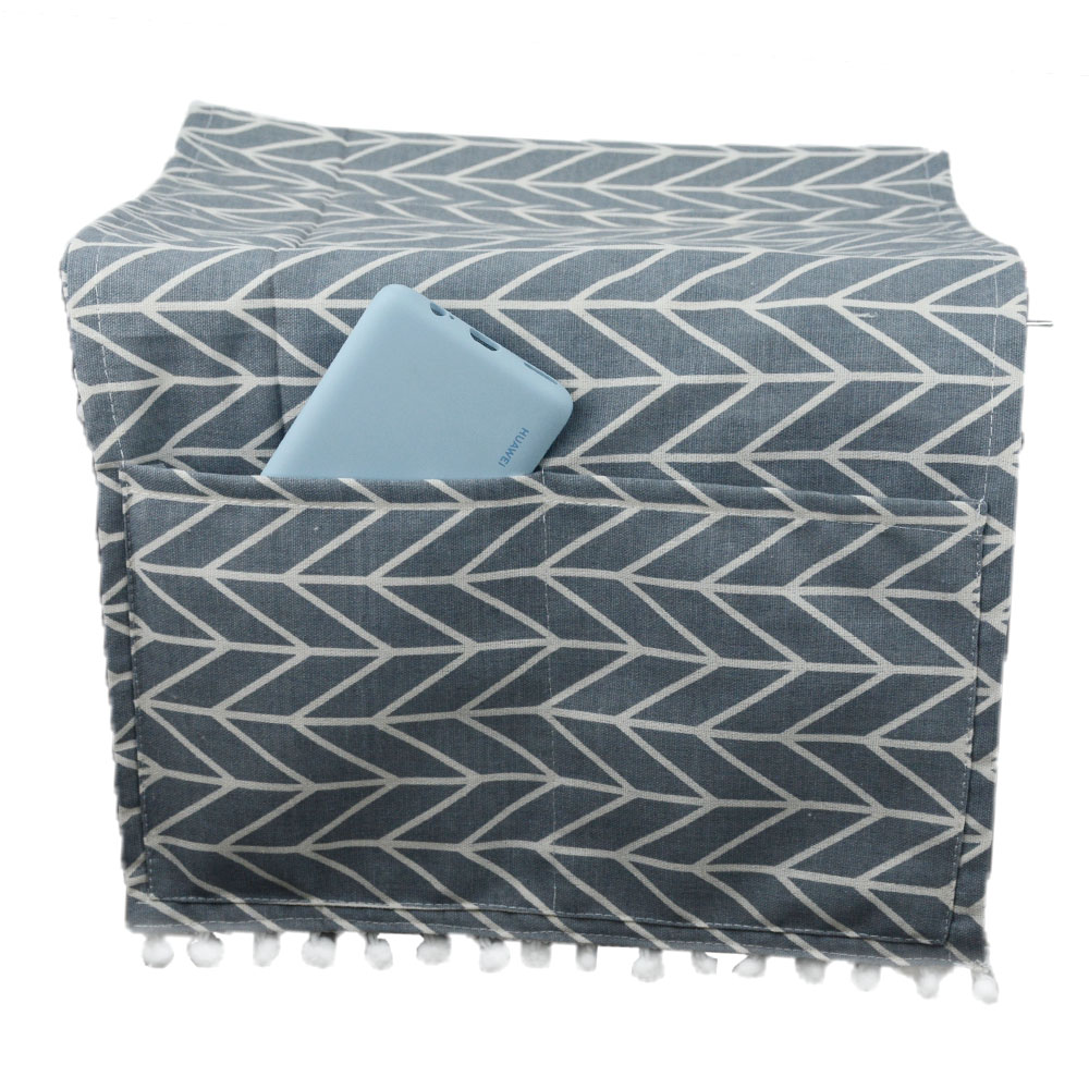 Cotton Linen Refrigerator Washing Machine Microwave Oven Cover Lattice Dust Cover Hanging Bag