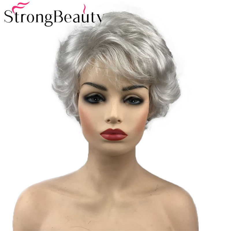 StrongBeauty Short Curly Wig Synthetic Hair Natural Black/Brown/Silver Grey Wigs Women 6 Colors For Choose