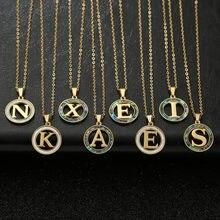 Or 26 lettre acier inoxydable colliers nacre coquille pendentif collier mode chaîne collier pour femmes hommes bijoux