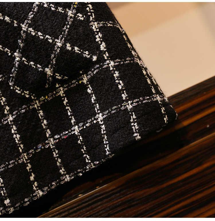 秋冬ツイードベストドレススーツファッション蝶ネクタイ長袖シャツと黒の V ネックボタンチェック柄ツイードドレス 2 枚組