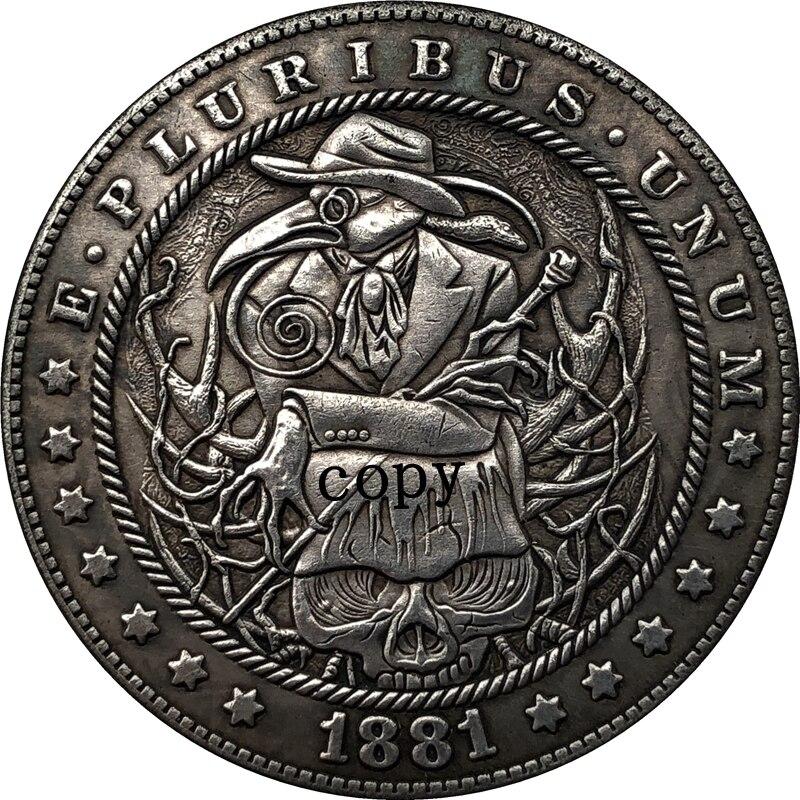 Hobo Nickel 1881-CC копия монеты доллара США Моргана 220