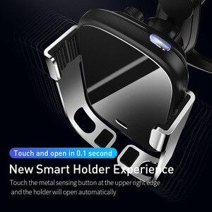 Image 2 - Baseus 10w carro qi carregador sem fio para iphone xs max samsung xiaomi titular do telefone carro inteligente infravermelho rápido sem fio de carregamento