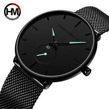 Новый простой дизайн водонепроницаемые мужские часы из нержавеющей